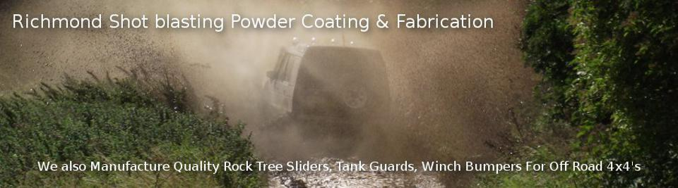 Richmond Shot blasting Powder Coating & Fabrication Landrover Defender/Discovery Off Road Accessories We also Manufacture Quality Rock Tree Sliders, Tank Guards, Winch Bumpers For Off Road 4x4's